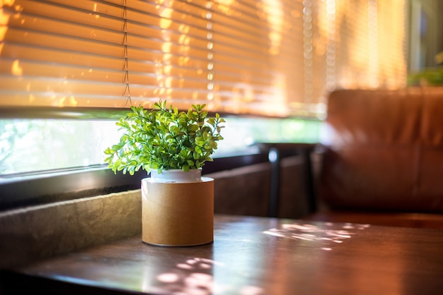 Plastic plant on wooden table for decoration at the cafe Premium Photo