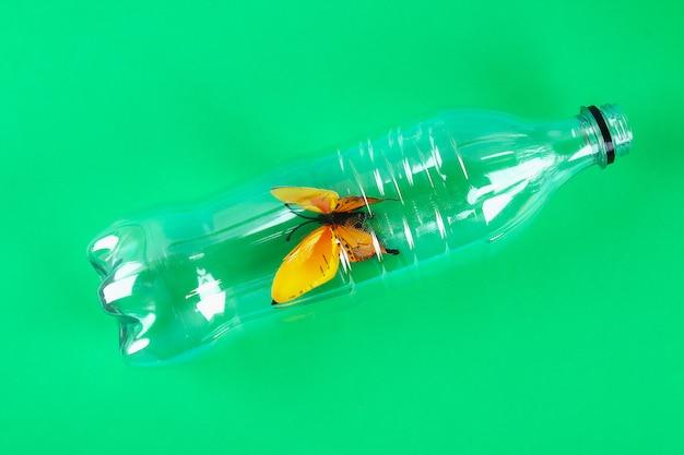 Plastic pollution in environmental problem nature. Premium Photo