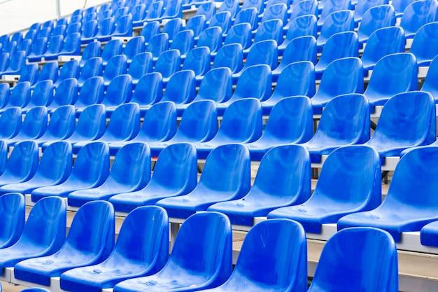Plastic seats on stadium in summer Premium Photo