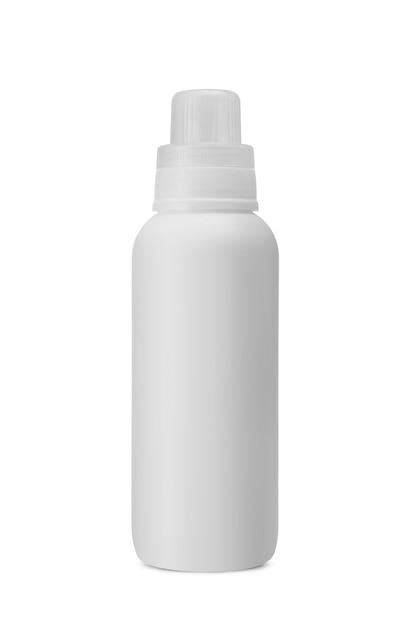 Пластиковая белая бутылка для стирального порошка, медицины, косметического крема, ухода за кожей, жидкого мыла, шампуня и лосьона, макета упаковки, изолированного на белом фоне Premium Фотографии