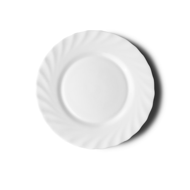 Plate on white with a shadow. top view Premium Photo