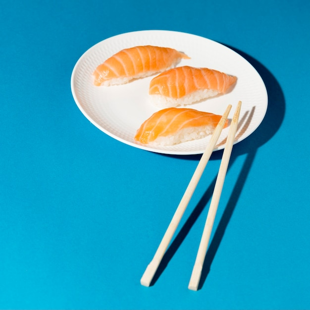 Plate with fresh sushi rolls Free Photo