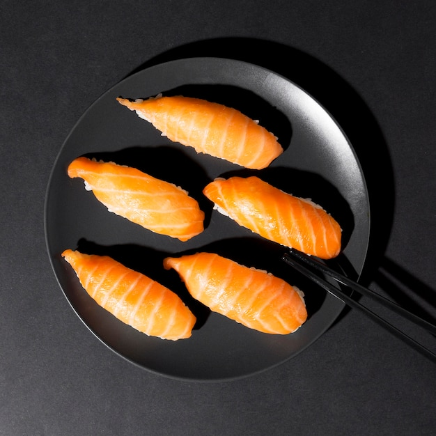 Plate with fresh variety of sushi rolls Free Photo