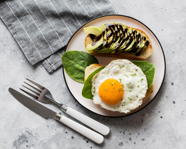 Plate with fried egg Premium Photo