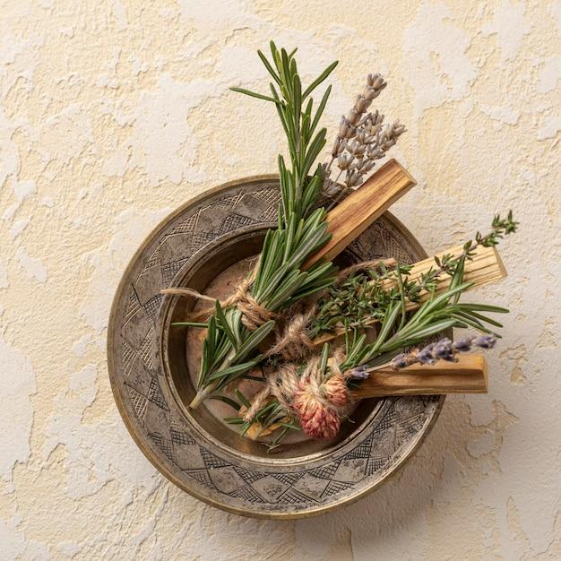 Piatto con pianta di incenso con foglie Foto Gratuite