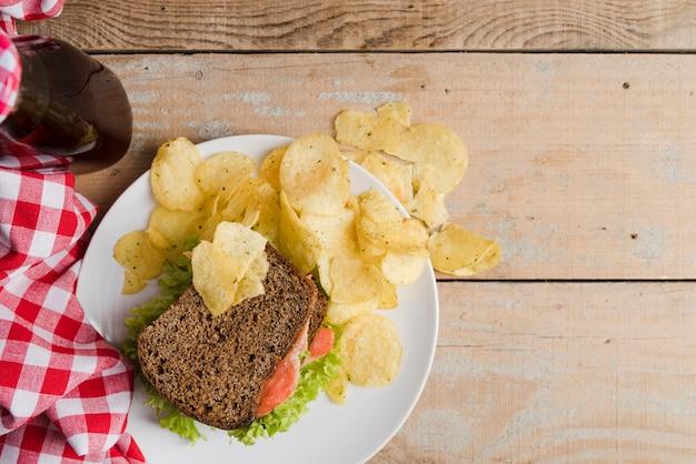 サンドイッチとチップのプレート 無料写真