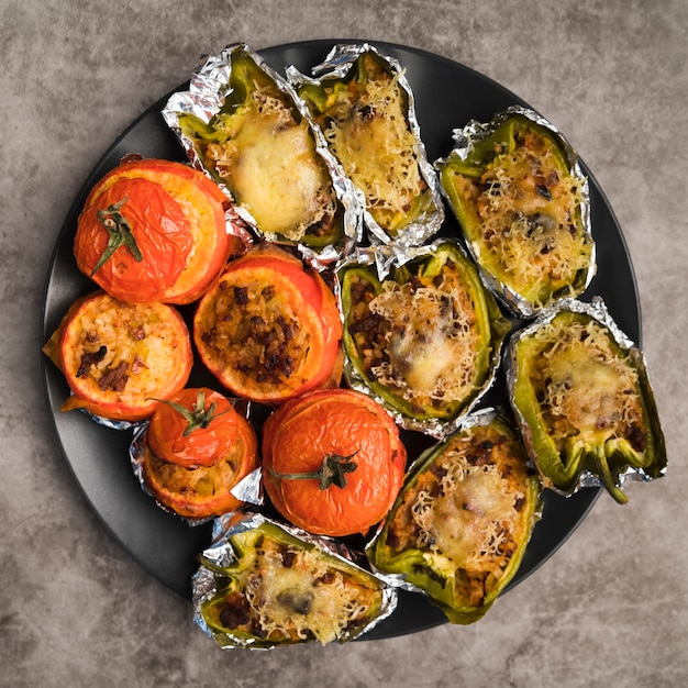 Plate with stuffed vegetables Free Photo