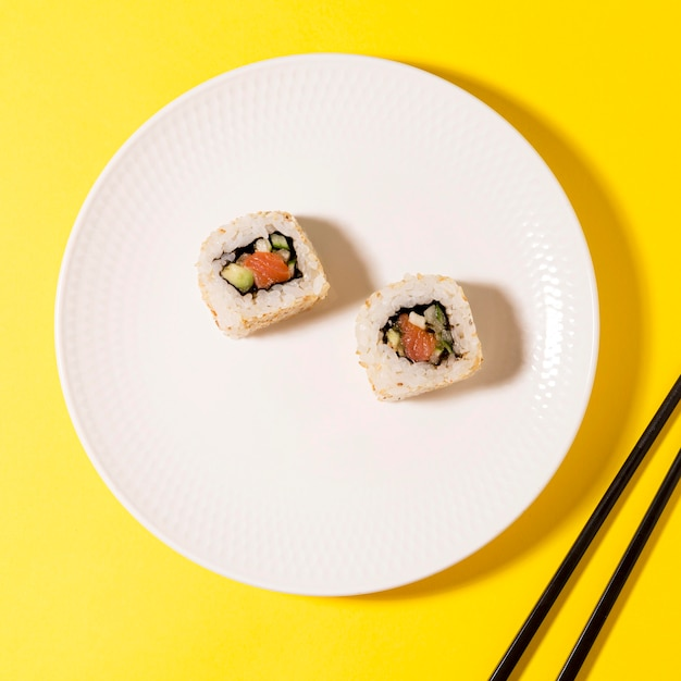 Plate with two sushi rolls Free Photo