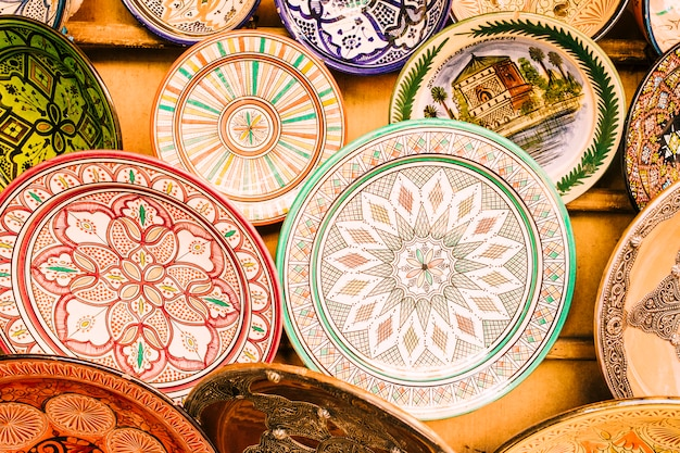 Plates on market in morocco Free Photo