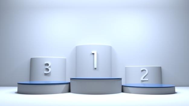 Platform honoring the top three 3d illustration Premium Photo