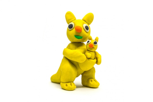 Play dough kangaroo on white Premium Photo