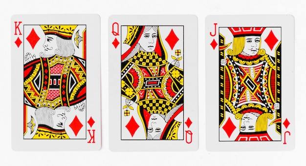 Playing cards full deck and back white background mockup Premium Photo