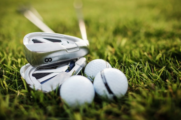 Playing golf - shot of golf ball with golf club Premium Photo