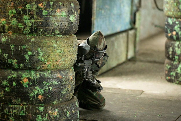 Playing paintball in the underground. Free Photo
