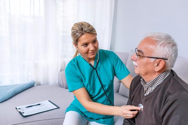 Pleasant elderly man having a medical examination Premium Photo