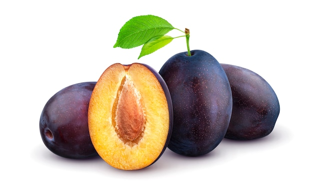 Plums isolated on white background Premium Photo