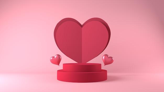 装飾が施されたバレンタインデーのプロダクトプレースメントの表彰台 無料写真