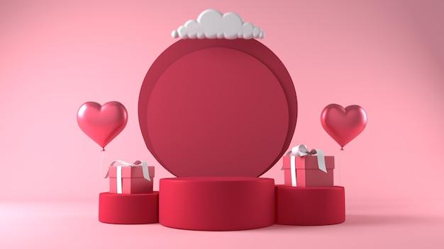 발렌타인 데이 장식으로 제품 배치를위한 연단 무료 사진