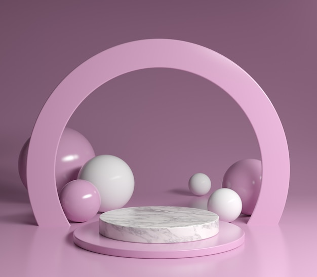 Podium marble pink minimal theme 3d render background Premium写真
