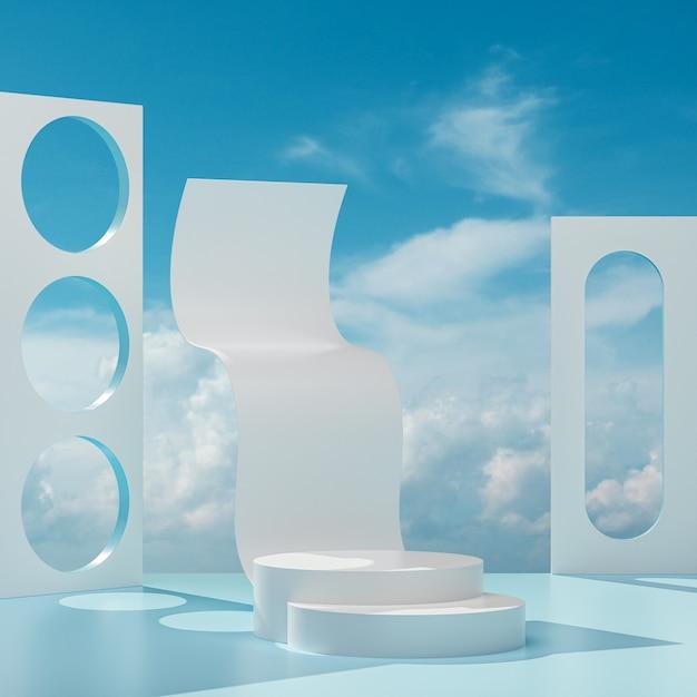 연단 무대는 화창한 날에 푸른 하늘과 구름과 파란색 흰색 배경에 서 3d 렌더링 프리미엄 사진