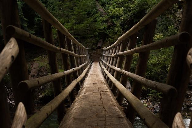 Prospettiva di punto di vista su un ponte sospeso Foto Gratuite