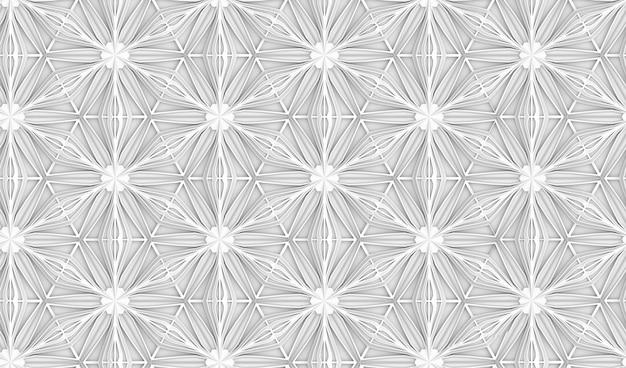 六point花と三次元光幾何シームレスパターン Premium写真