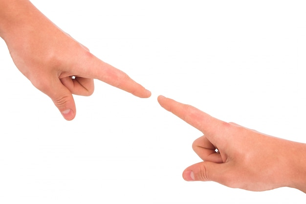 Pointing fingers between them Free Photo