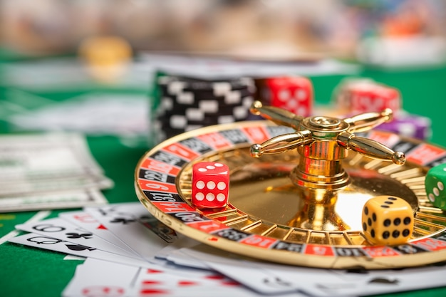 Poker chips on table in casino Premium Photo