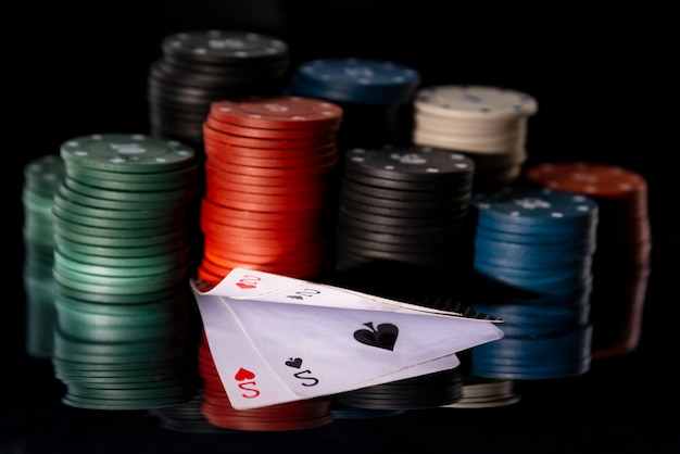 Poker chips with cards Premium Photo