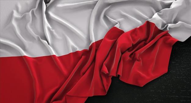Poland flag wrinkled on dark background 3d render Free Photo