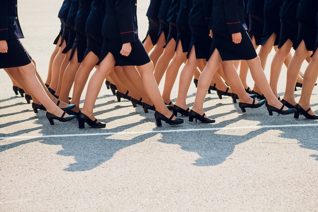 The police are marching. legs. shoes in line. Premium Photo