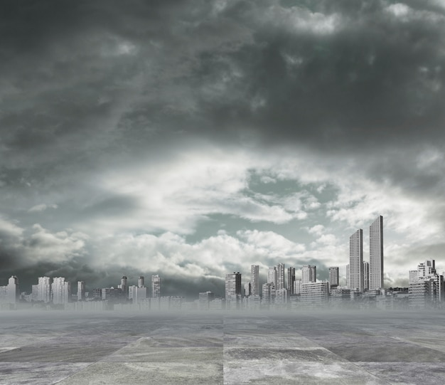 Polluted city background Free Photo