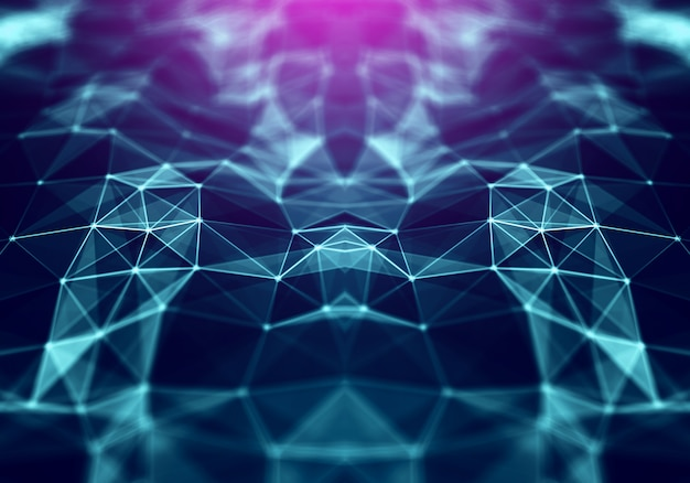 Polygonal space low poly background with triangles Premium Photo