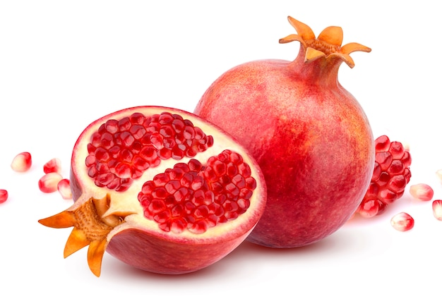 Pomegranate isolated on white Premium Photo