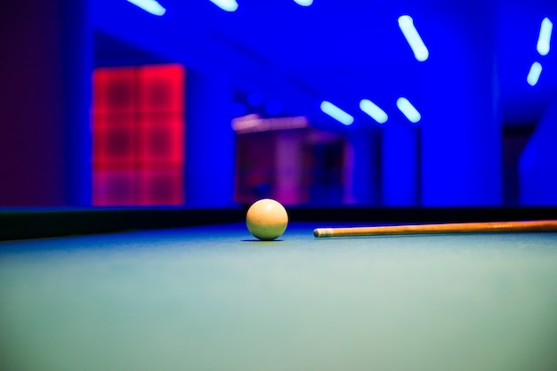Pool table with white ball Free Photo