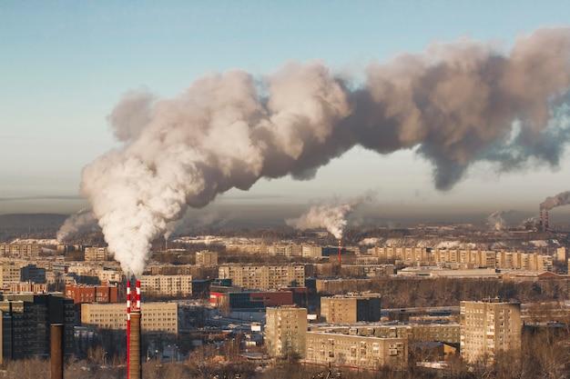 Poor environment in city. environmental disaster Premium Photo
