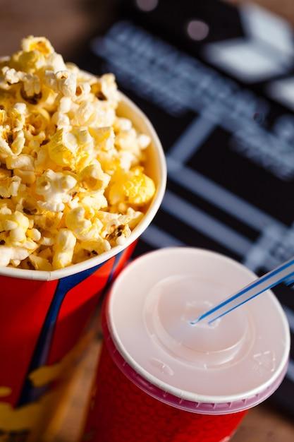 Popcorn bowl and drink Premium Photo
