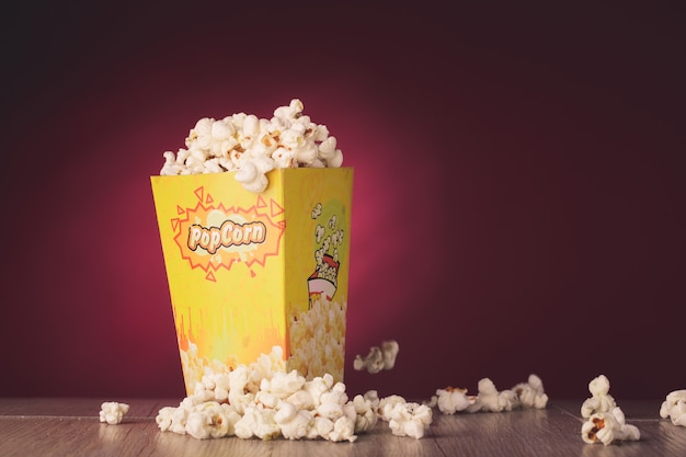 Popcorn isolated in red background Premium Photo