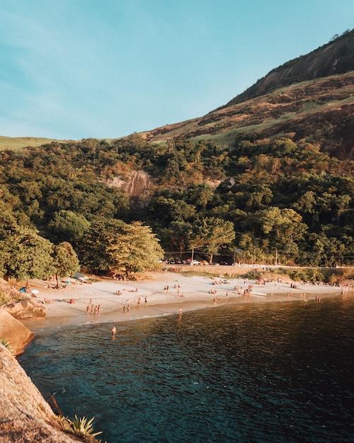 多くの人々が美しい夏の日を楽しんでいる人口の多いビーチ 無料写真