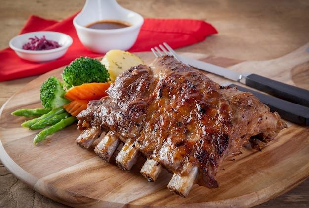 Pork  ribs grill Premium Photo