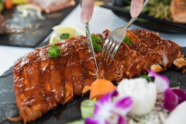Pork ribs steak close up Premium Photo