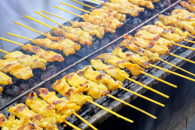 Pork skewers grilled on a stove Premium Photo