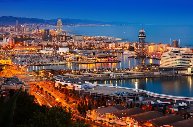 Port in barcelona during evening. spain Free Photo