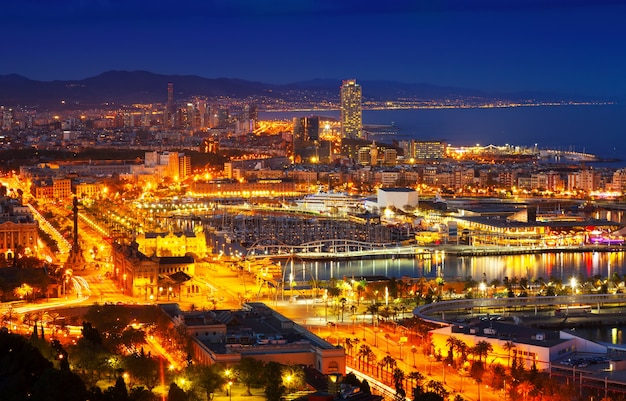 Port vell and barcelona cityspace in night Free Photo
