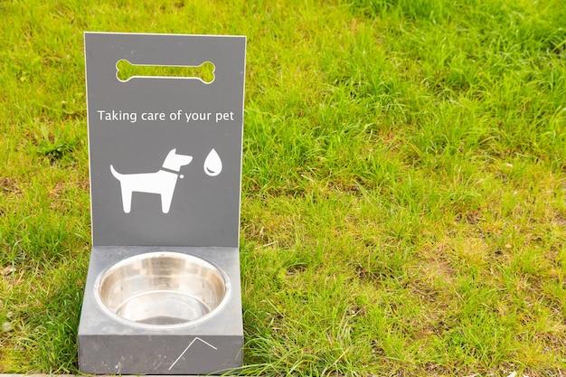 푸른 잔디에 개와 고양이를위한 휴대용 애완 동물 물 마시는 사람. 프리미엄 사진