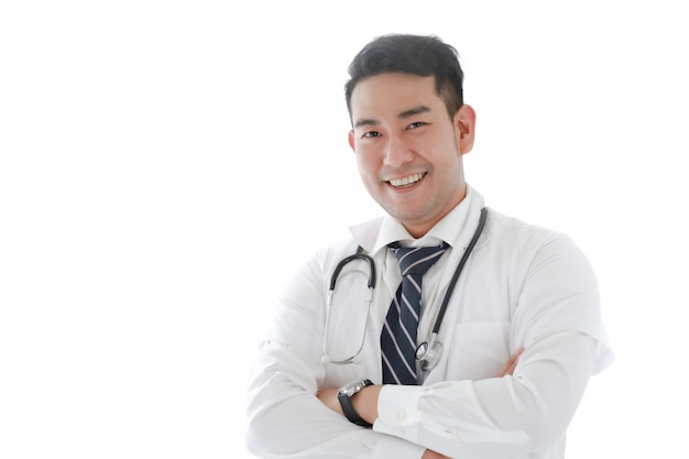 Portait of asian doctor in hospital white Premium Photo