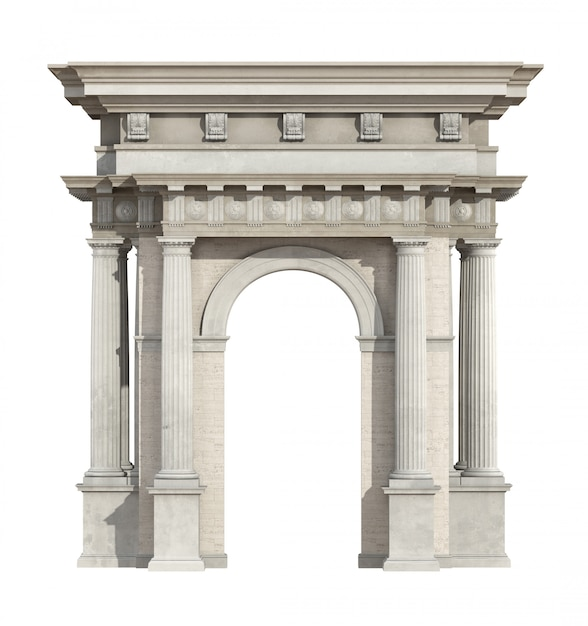 Portal in neoclassical style isolated on white Premium Photo