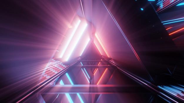 Портал красивых неоновых огней со светящимися фиолетовыми и синими линиями в туннеле Бесплатные Фотографии