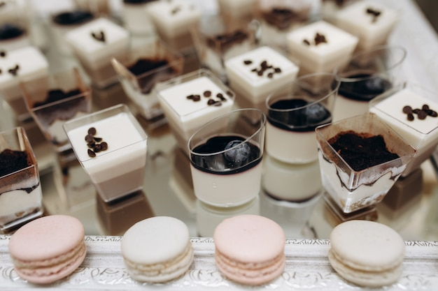 Portions of tiramisu, mousse desserts and macarons Free Photo
