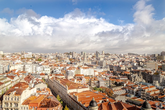 Porto city in portugal with horizon and sky with some clouds. Premium Photo